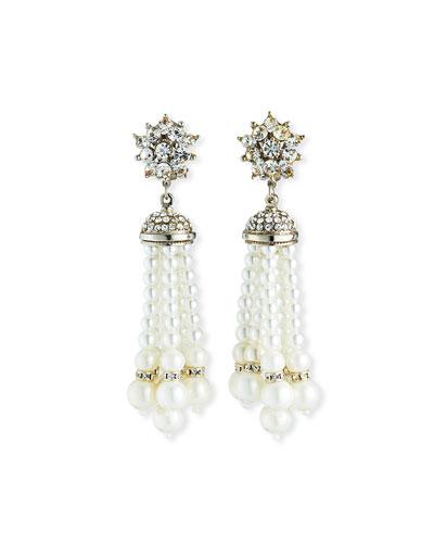 Pearly Tassel Clip-On Earrings