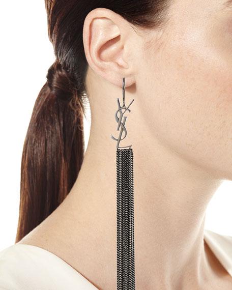 Saint Laurent YSL Monogram Chain Tassel Earrings