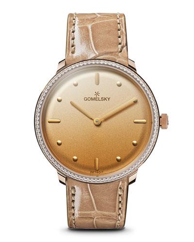 Audry Degrade Opaline Watch w/ Diamonds  Golden