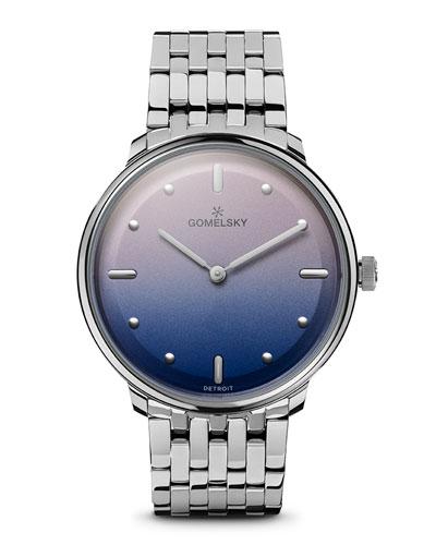 Audry Degrade Opaline Watch w/ Bracelet, Pink/Blue