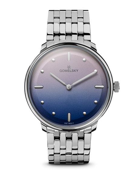 Gomelsky Audry Degrade Opaline Watch w/ Bracelet, Pink/Blue