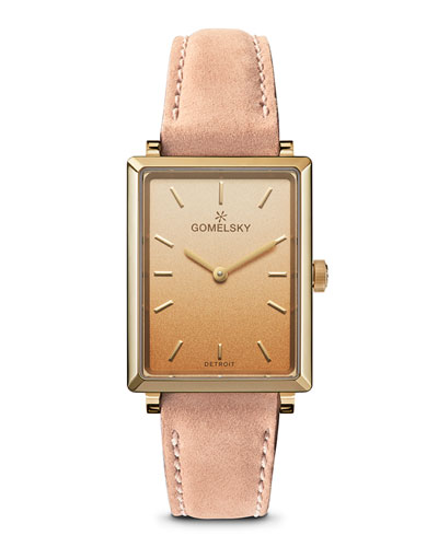 Shirley Degrade Rectangular Watch w/ Leather Pink/Gold