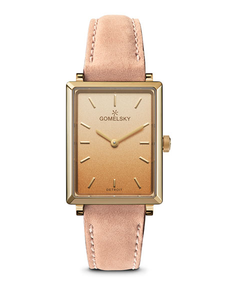 Gomelsky Shirley Degrade Rectangular Watch w/ Leather Pink/Gold