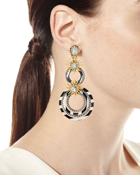 Elizabeth Cole Sarah Double Circle-Drop Earrings w/ Crystals