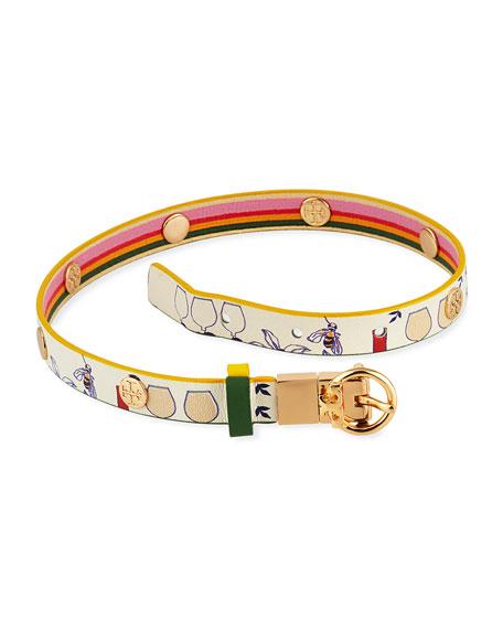 Tory Burch Printed Reversible Double-Wrap Bracelet
