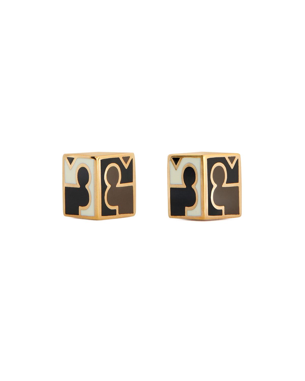 Enamel Half Cube Stud Earrings by Tory Burch
