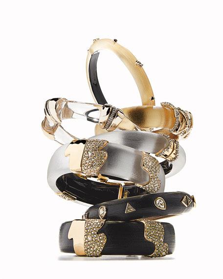 Alexis Bittar Orbiting Bamboo Crystal Encrusted Hinge Bracelet, Gold