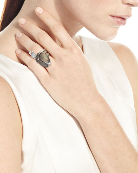Alexis Bittar Crystal Encrusted Scarab Ring, Size 7