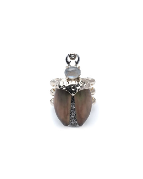 Alexis Bittar Crystal Encrusted Scarab Ring, Size 6