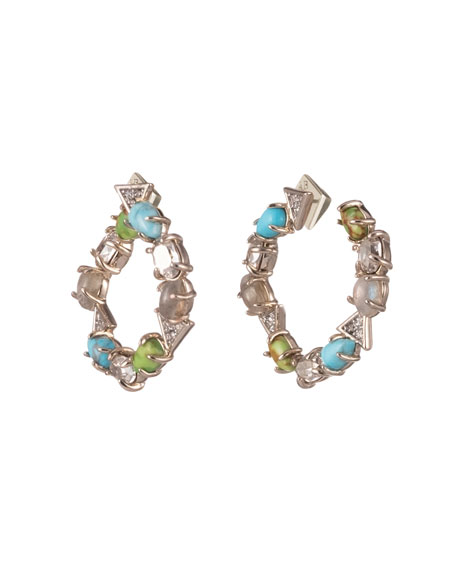 Alexis Bittar Multi-Stone Coiled Post Earrings