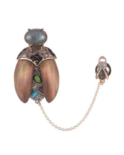 Crystal Encrusted Baby Scarab Pin
