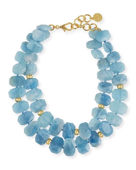 NEST Jewelry Aquamarine Double-Strand Necklace