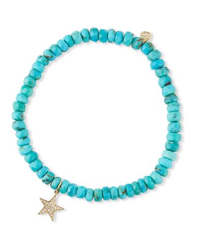 14k Diamond Star & Turquoise Bracelet