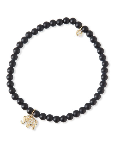 14k Diamond Elephant & Black Onyx Bracelet