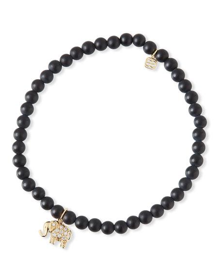 Sydney Evan 14k Diamond Elephant & Black Onyx Bracelet
