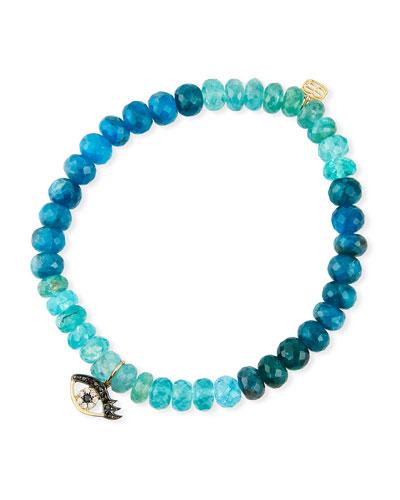 14k Diamond Evil Eye & Multi-Apatite Bracelet