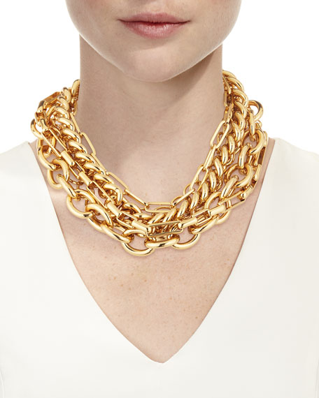 Kenneth Jay Lane 5-Row Chain Necklace