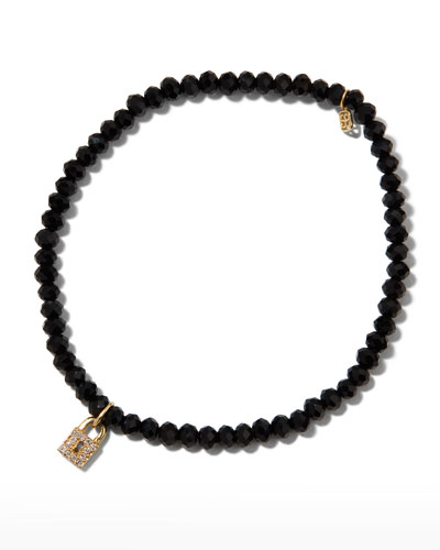 14k Diamond Keyhole Lock & Black Spinel Bracelet