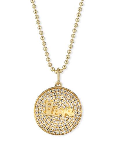 14k Love Script Diamond Pave Medallion Necklace