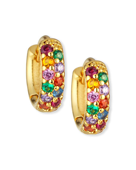 Tai Rainbow Huggie Hoop Lever Back Earrings