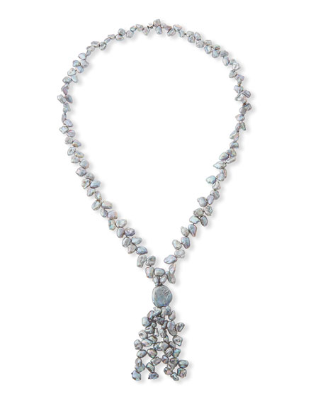 NEST Jewelry Long Pearl Necklace, Gray