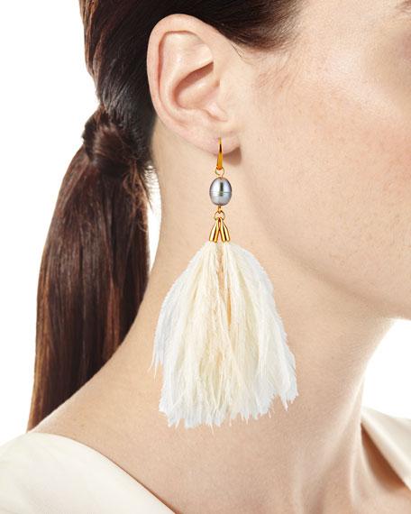 Tory Burch Pearl & Feather Tassel Earrings