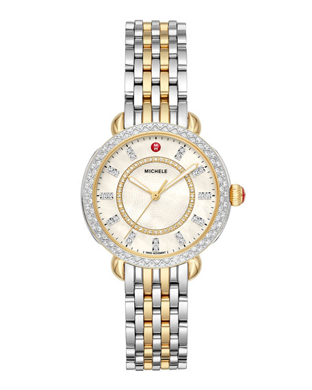 MICHELE Sidney Classic Diamond Two-Tone Watch, Silver/Gold