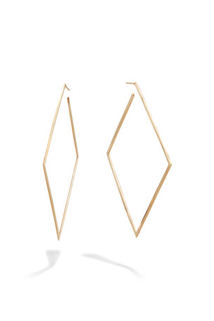 Lana 80mm 14k Gold Square Flat Hoop Earrings