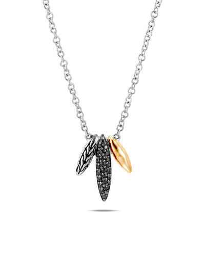 Classic Chain Spear Pendant Necklace w/ 18k Gold & Black Spinel