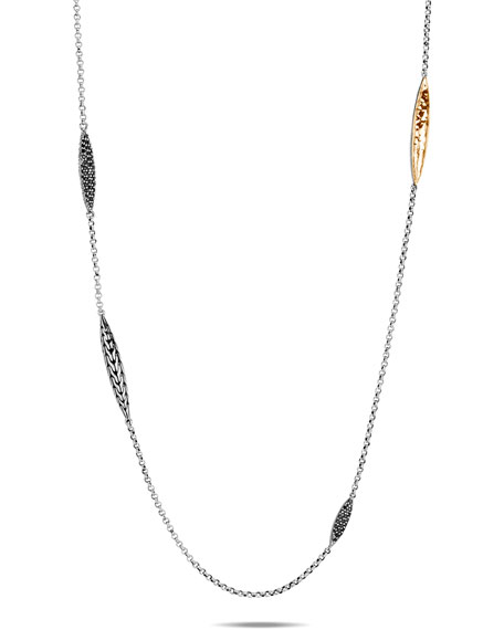 John Hardy CLASSIC CHAIN SPEAR-STATION NECKLACE W/ 18K GOLD & BLACK SPINEL