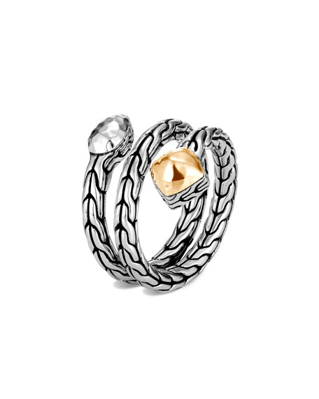 John Hardy Classic Chain Hammered Coil Ring w/ 18k Gold, Size 6-8
