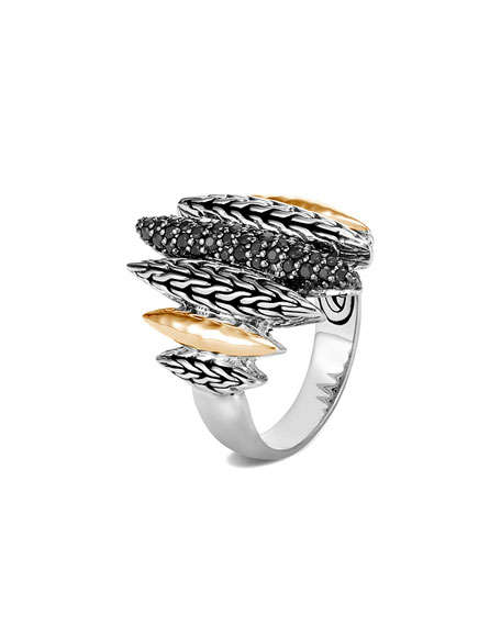 John Hardy Classic Chain Mixed-Spear Ring w/ 18k Gold & Black Spinel, Size 6-8