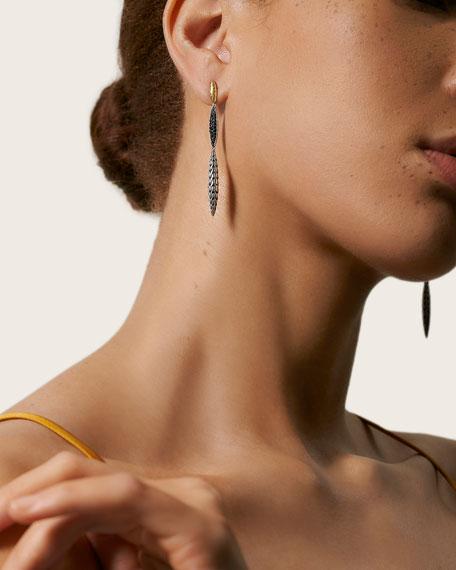 John Hardy Classic Chain 3-Spear Earrings w/ 18k Gold & Black Spinel