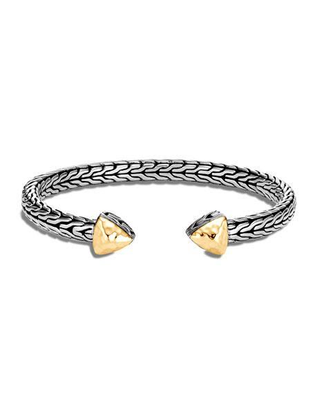 John Hardy Classic Chain Hammered Cuff Bracelet w/ 18k Gold, Size S/M