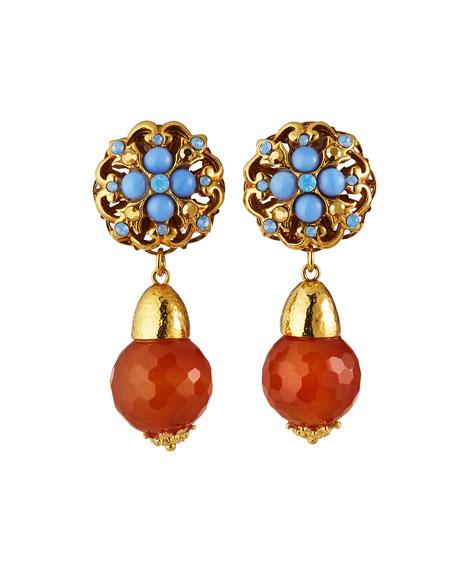 Jose & Maria Barrera Carnelian Clip-On Drop Earrings