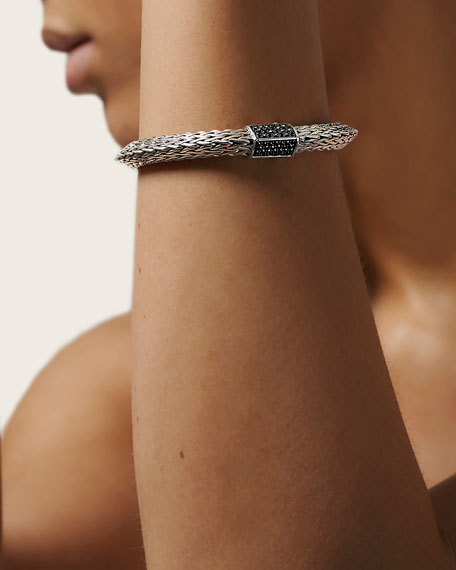 John Hardy Classic Chain Tiga Thick Bracelet w/ Black Sapphire Clasp