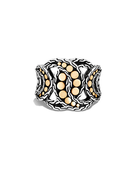John Hardy Dot Interlocking Ring w/ 18k Gold, Size 6-8