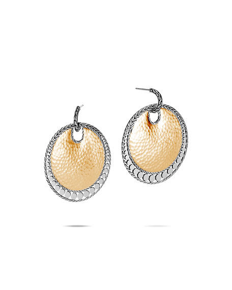 John Hardy Dot Hammered Round Earrings w/ 18k Gold
