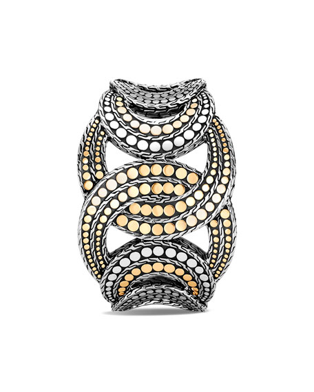 Image 2 of 4: John Hardy Dot Interlocking Cuff Bracelet w/ 18k Gold, Size S-M