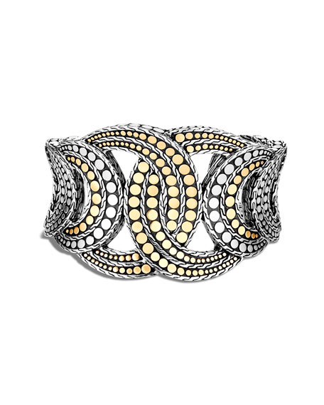 Image 1 of 4: John Hardy Dot Interlocking Cuff Bracelet w/ 18k Gold, Size S-M