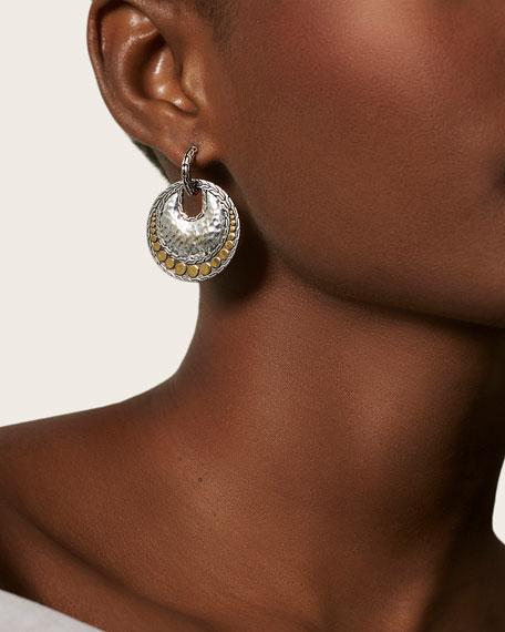 John Hardy Dot Hammered Round Earrings w/ 18k Gold Trim