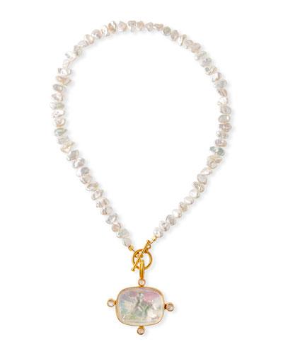 Pearl  Moonstone & Italian Glass Necklace