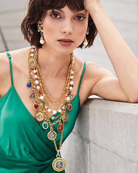 Jose & Maria Barrera 5-Strand Coin & Pearly Necklace