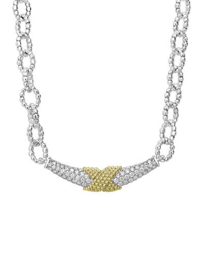 Caviar Lux Diamond X-Wrap Chain Necklace w/ 18k Gold