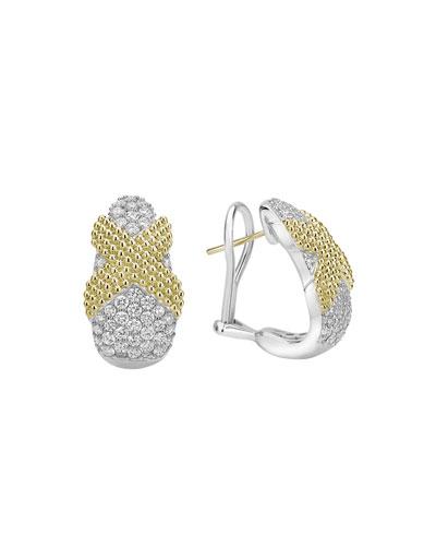 Caviar Lux X-Wrap Earrings w/ Diamonds