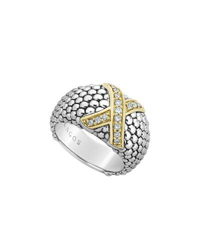 Caviar Lux Diamond-X Wide Ring w/ 18k Gold  Size 6-8