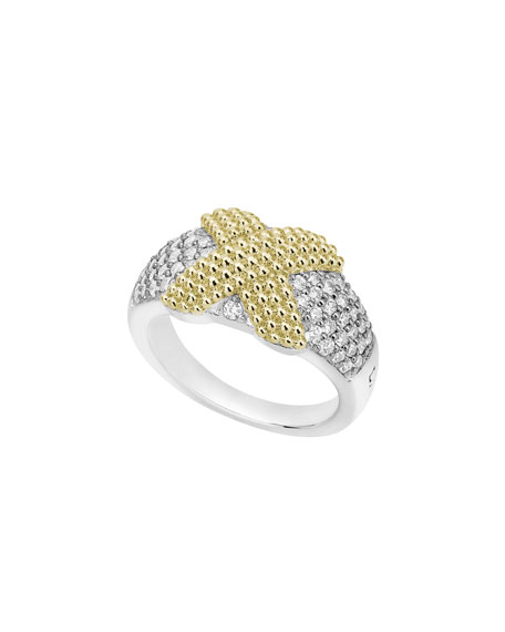 LAGOS Caviar Lux X-Wrap Ring w/ Diamonds, Size 7