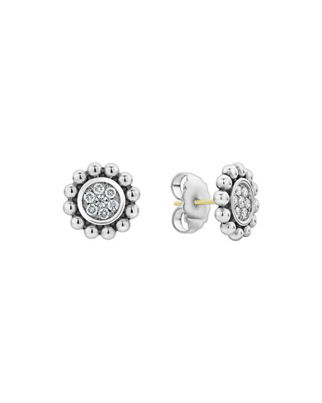 Lagos CAVIAR SPARK DIAMOND CIRCLE STUD EARRINGS
