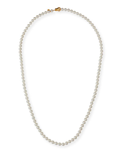 Long Pearl-Strand Necklace  White  35L