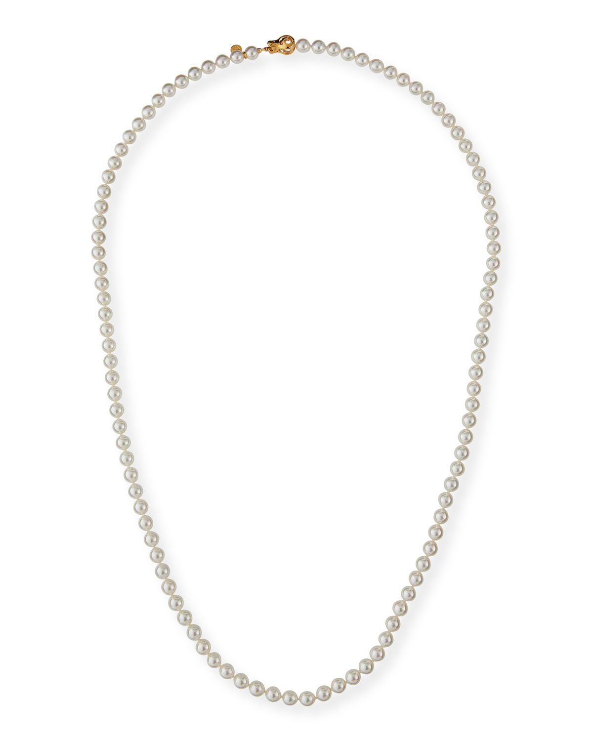 """Long Pearl Strand Necklace, White, 35""""L by Majorica"""